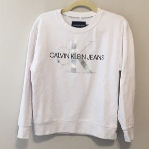 Calvin Klein 90s Style Logo White Sweatshirt